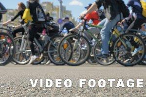 A lot of bikers on the street festival - slowmotion 60 fps