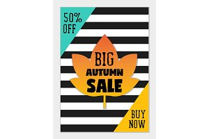 Bright eye catching sale website posters in flat design style