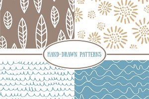 Hand-drawn vector seamless patterns