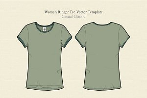 Women Ringer Tee Vector Illustration