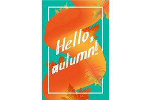 Hello autumn poster template