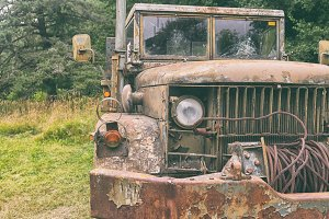 Old army truck in the woods