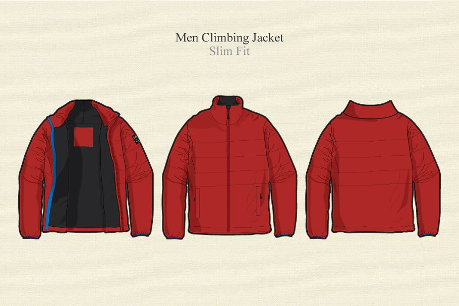 f989e585b3 Men Climbing Jacket Vector Template ~ Illustrations ~ Creative Market