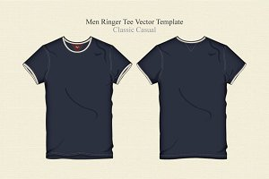 Men Ringer Tee Vector Template