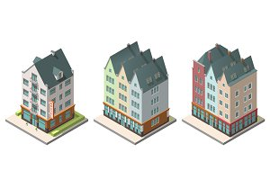 Vector isometric buildings set. Isolated on white background. Included hotel, residential building