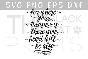 Christian SVG Matthew 6:21 DXF EPS