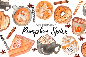 Pumpkin Spice Watercolor Clip Art