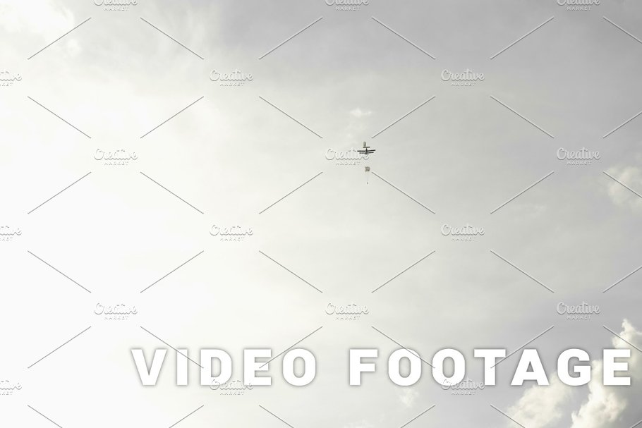 Parachutes jumping from airplanes - slowmotion 60 fps in Graphics - product preview 8