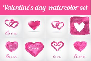 Set of 25 valentine`s day elements