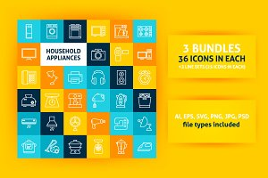 Household Appliances Line Art Icons