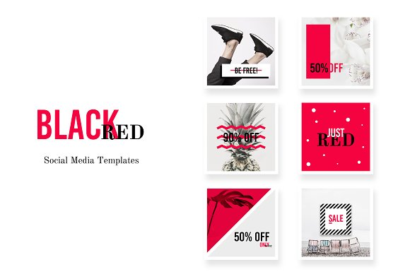 Social Media Pack BlackRed