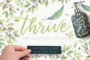 Thrive Leafy Watercolour Design Kit