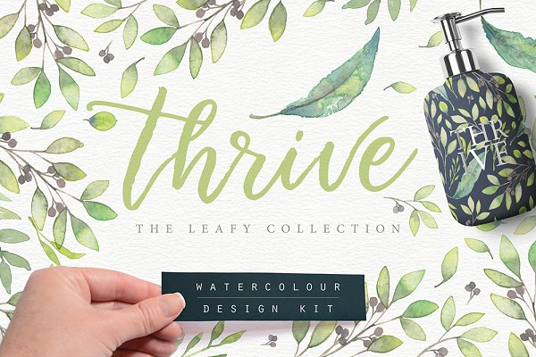 Thrive Leafy Watercolour Design Kit