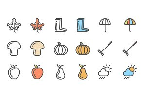 Set of autumn icons. Collection of linear monochrome and colored symbols with fall objects.