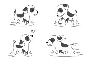 Cute puppy dog doodle vector
