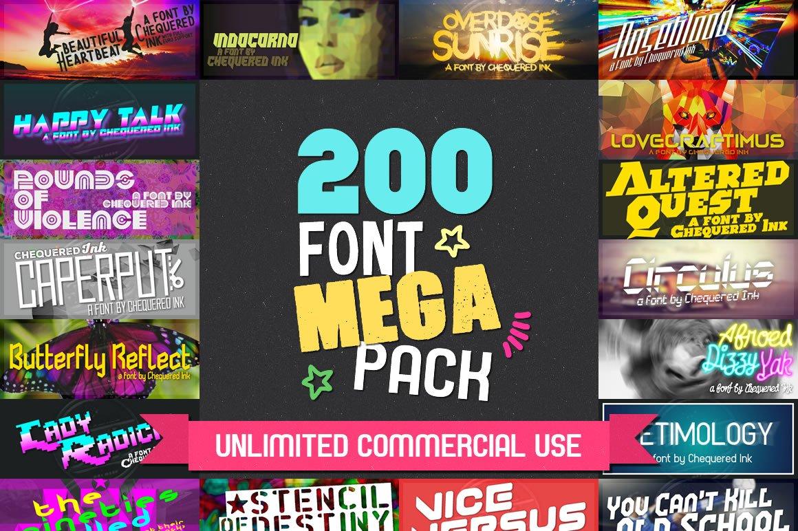 Download 200 Font Mega Pack | Stunning Display Fonts ~ Creative Market