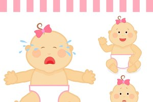 Cute cartoon small pink baby girl