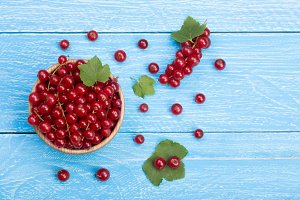 Red currant berries in a wooden bowl with leaf on the blue wooden background with copy space for your text. Top view