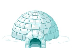 Winter house from ice blocks
