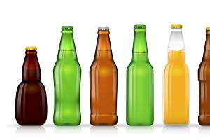 Different shapes of beer bottles