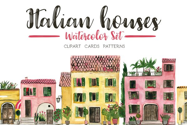 Italian Houses Watercolor Set