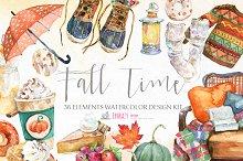 Fall waterolor clipart digital paper