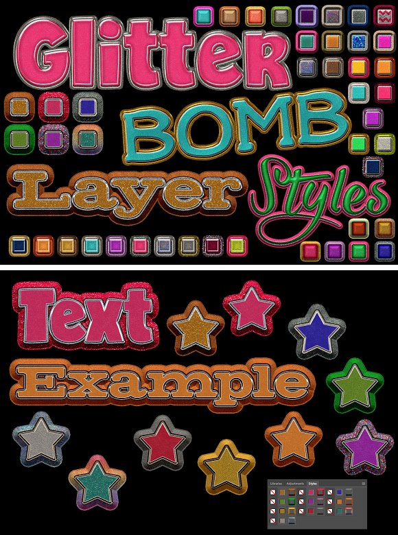 Glitterbomb Photoshop Layer Styles