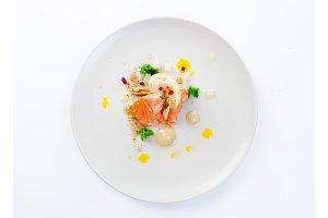 Molecular modern cuisine red fish