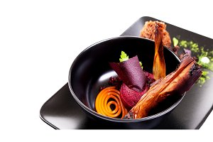 Molecular Cuisine. Delicious soup with beetroot.