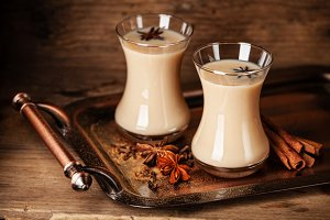 Hot tea with milk and spices