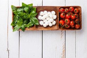 Basil, mozzarella, tomatoes