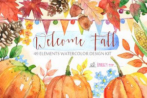 Fall Autumn clipart set paper