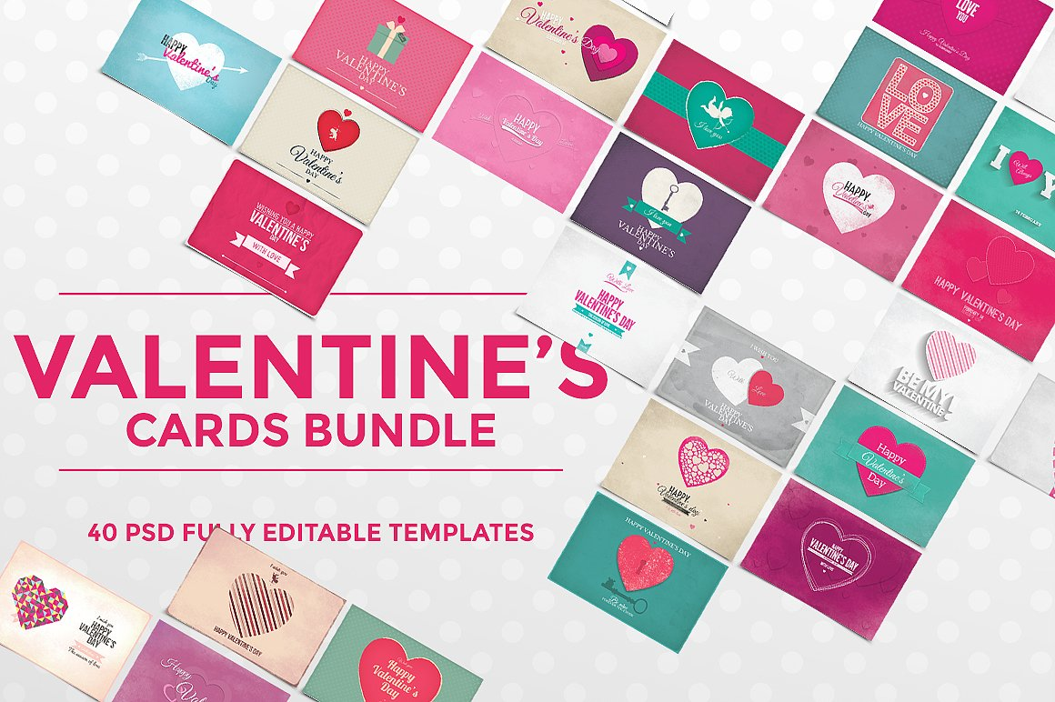 40 valentine's day cards  card templates  creative market