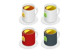 Isometric vector set of multicolored ceramic cups with tea and a piece lemon on white background. Drink Modern vector illustration for web and mobile. Flat Icon.