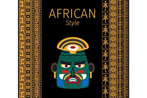 African yellow borders and mask design