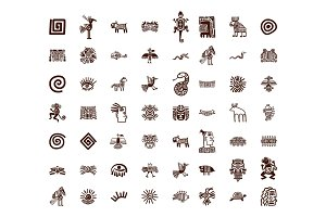 Brown tribal symbols set