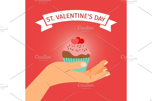 Hand With Cupcake Valentines Day Illustration