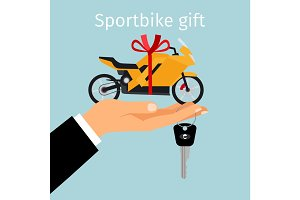 Man hand holding gift sportbike