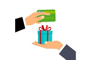 Hands with credit card and gift