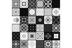 Black and white modern ceramic tiles