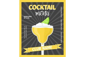 Cocktail menu black vintage template