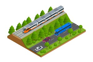Isometric train tracks and modern train. Railroad icons. Modern high speed red commuter train. Flat 3d isometric vector illustration. For infographics and design games.