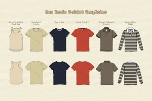 Men Basic T-shirt Templates