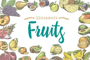 Vintage, hand drawn fresh fruits background, summer plants, vegetarian and organic citrus and other, engraved. pineapple, lemon, papaya, pitaya, maracuya and bananas.