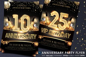 Anniversary And Birthday Party Flyer