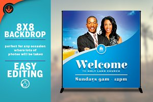 Church Welcome 8x8 Event Backdrop