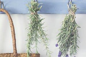 Herbs hanging on vintage hooks 1