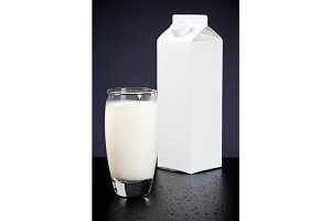 Glass Of Milk And Drinks Carton