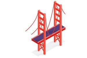 Isometric Golden Gate Bridge SF