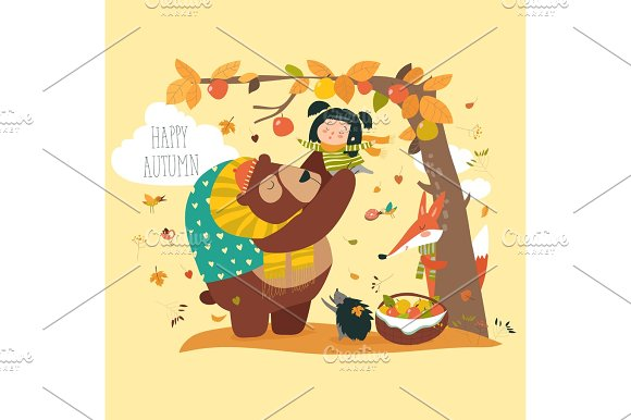 Funny bear with cute girl harvesting apples in Illustrations